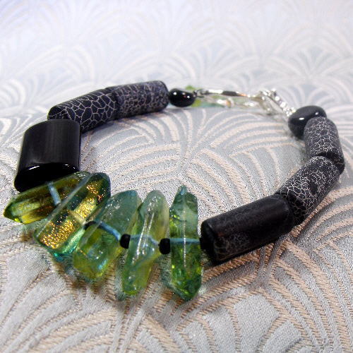 black green bracelet, semi-precious gemstone bracelet, unique gemstone jewellery