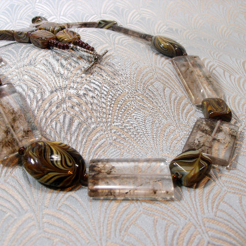 brown statement necklace, handmade semi-precious gemstone jewellery uk,