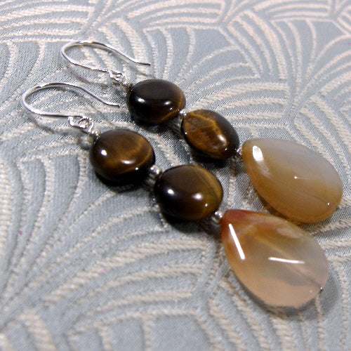 medium drop semi-precious stone earrings uk, unique gemstone jewellery