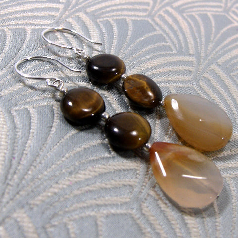 Semi-Precious Stone Earrings, Gemstone Drop Earrings (A83)