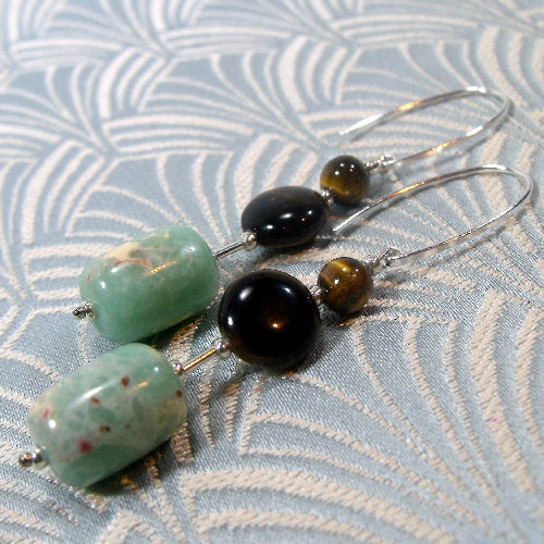 long jasper tigers eye earrings,m semi-precious gemstone earrings, semi-precious stone jewellery