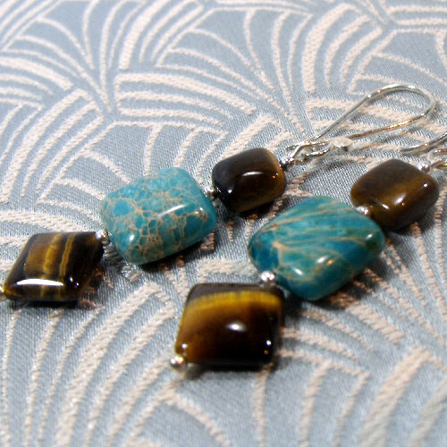 jasper tigers eye earrings, unique gemstone jewellery, semi-precious stone earrings