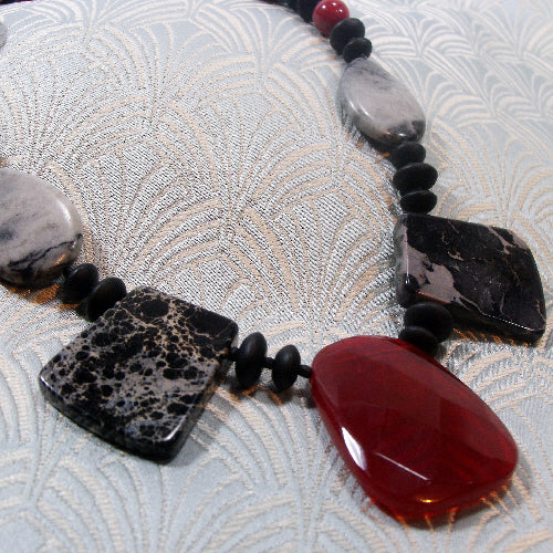 red black statement necklace, unique semi-precious stone jewellery, handmade semi-precious gemstone necklace