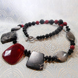 unique black red statement necklace jewellery design