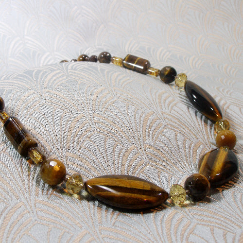 tigers eye necklace, semi-precious gemstone jewellery, unique semi-precious stone necklace