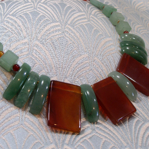 aventurine carnelian statement necklace, unique semi-precious stone jewellery necklace