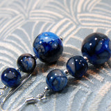 blue bead drop earrings