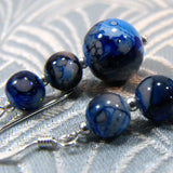 blue bead drop earring design