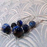 blue glass bead earring design
