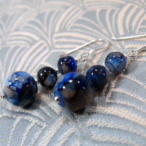 semi-precious stone earrings, gemstone jewellery, blue drop bead earrings