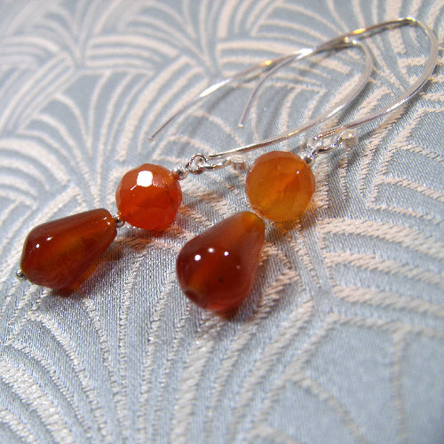 long carnelian earrings, handmade semi-precious gemstone jewellery, long semi-precious stone earrings uk