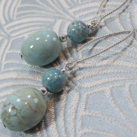 Long Semi-Precious Earrings, Long Drop Turquoise Earrings UK (A103)