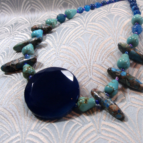 blue semi-precious necklace, handmade semi-precious gemstone jewellery uk, semi-precious stone necklace