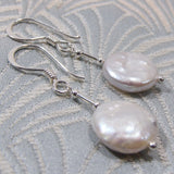 white pearl drop earrings, unique handmade jewellery uk, pearl handmade earrings