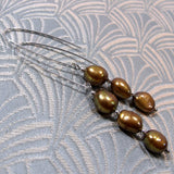 handmade earrings, long drop pearl earrings uk