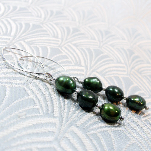 long pearl drop earrings, handcrafted earrings unique in design