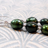 green pearl earrings uk