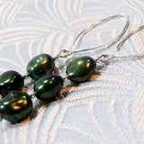 unique handmade pearl earrings green colour