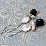 black cream pearl earrings