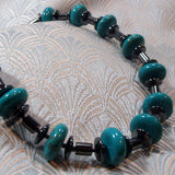 hematite turquoise long necklace