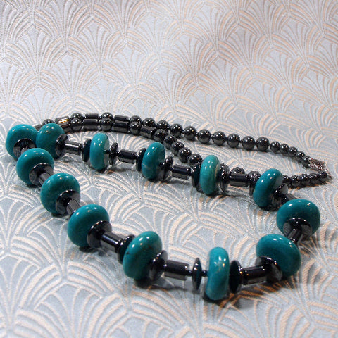 Semi-precious Stone Jewellery UK, Long Stone Necklace (A140)
