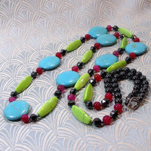 long semi-precious stone necklace, unique handmade semi-precious jewellery, bright bold long necklace design