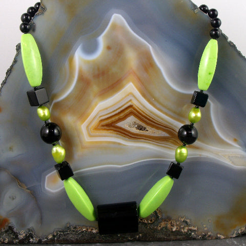 Green and black semi-precious gemstone necklace jewellery, unique semi-precious stone jewellery UK
