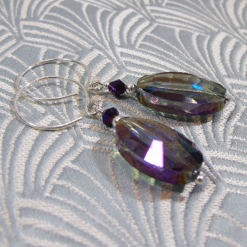 handmade earrings, purple crystal long dangle earrings,