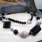 grey black long semi-precious stone necklace uk