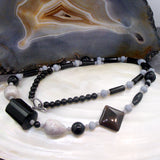 grey black long necklace semi-precious stones