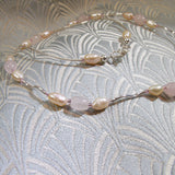 pearls, rose quartz beads sterling silver