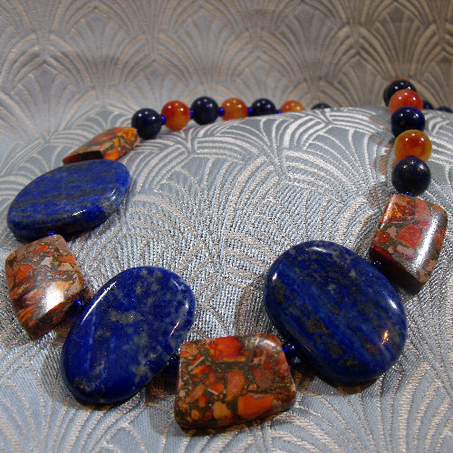 lapis lazuli handmade gemstone necklace, semi-precious stone jewellery uk