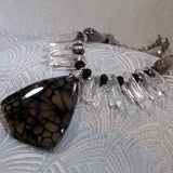 black grey agate pendant necklace design