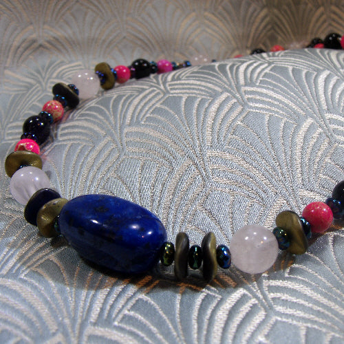 long semi-precious stone necklace, unique handmade necklace uk