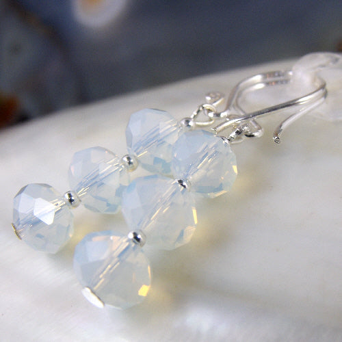 opal quartz earrings, semi-precious gemstone earrings uk,