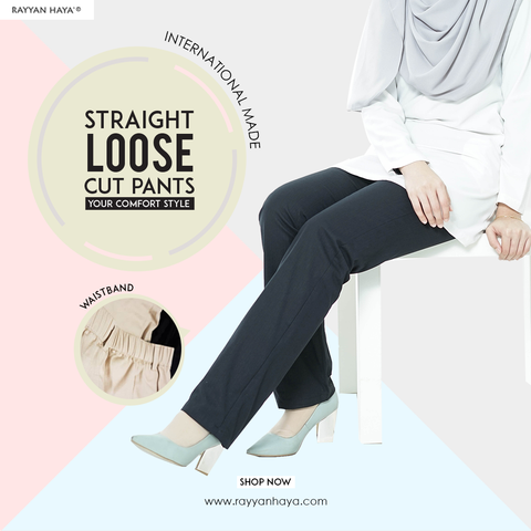 Straight Loose Cut Pants With Waistband