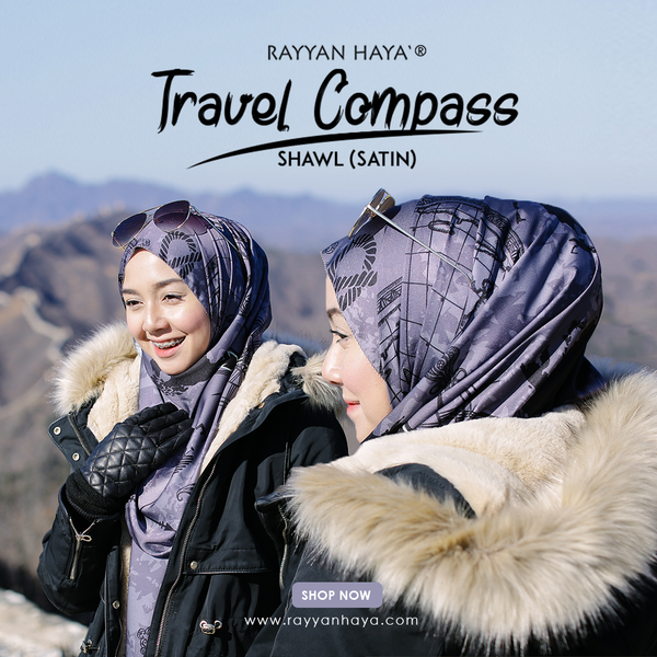 Travel Compass Shawl (Rosy Brown)
