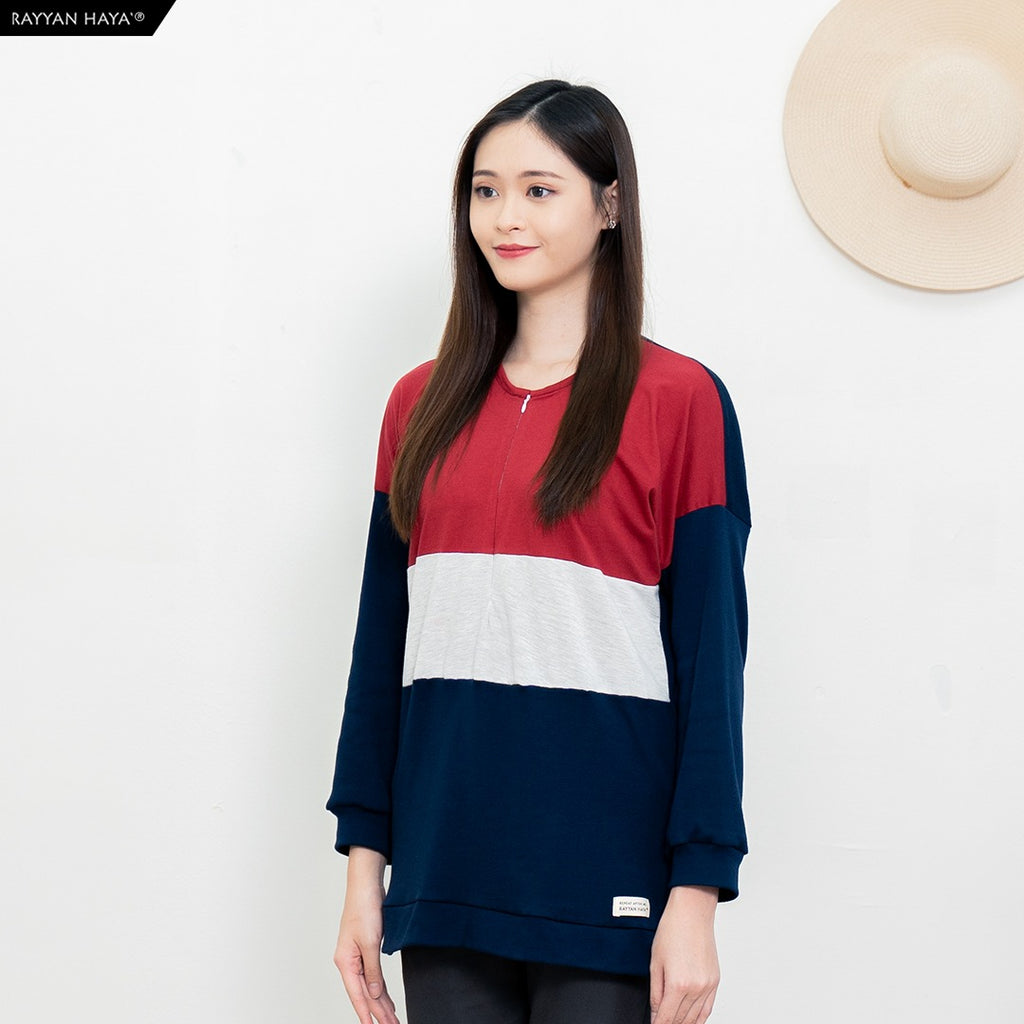 Casandra Top (Maroon/Heather/Dark Blue)