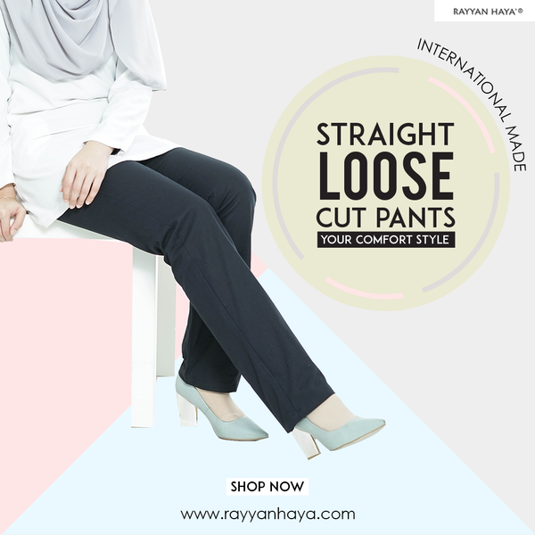 Straight Loose Cut Pants (Black)