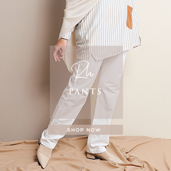 Straight Loose Cut Pants With Waistband (Off White)