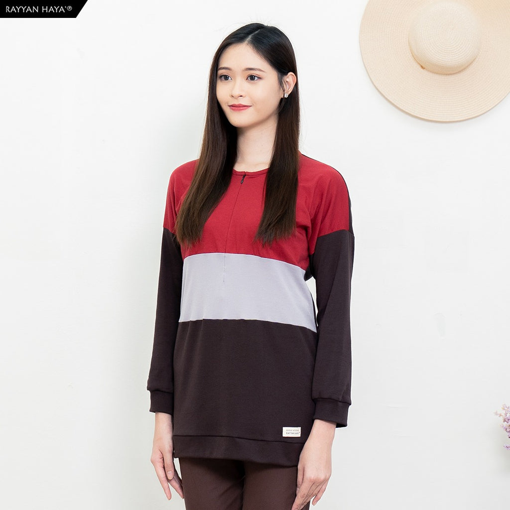 Casandra Top (Maroon/Heather/Dark Brown)