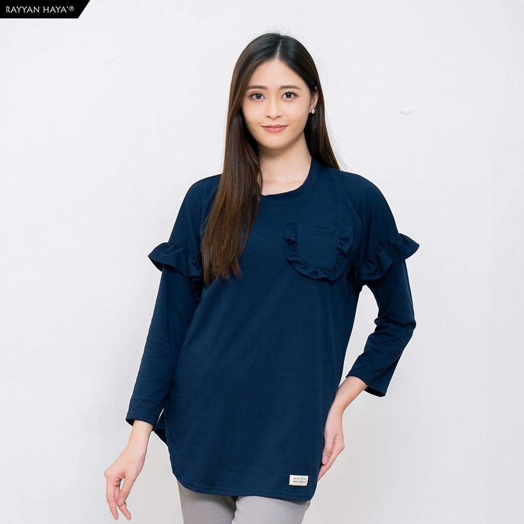 Hanum Ruffle Top (Dark Blue)