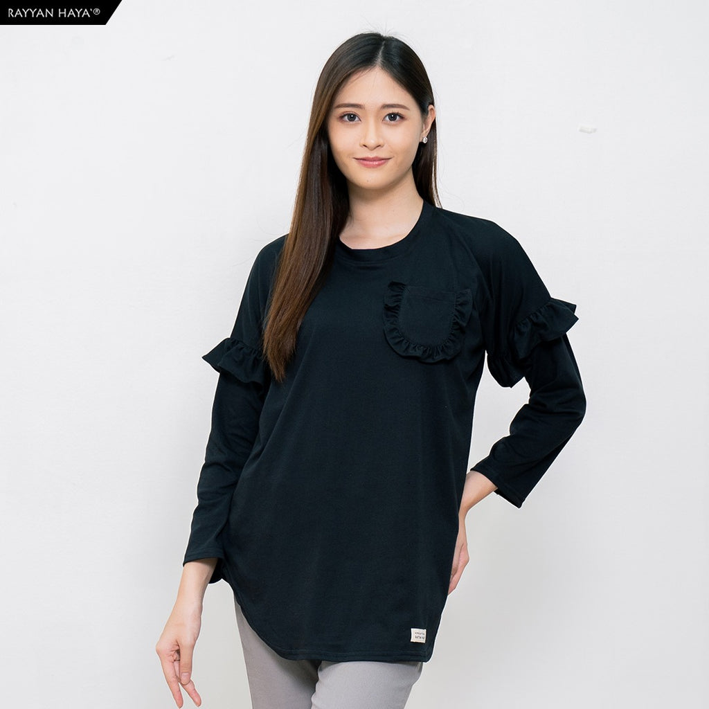 Hanum Ruffle Top (Black)