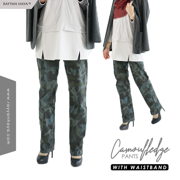 Camouflage Pants With Waistband (Blue)