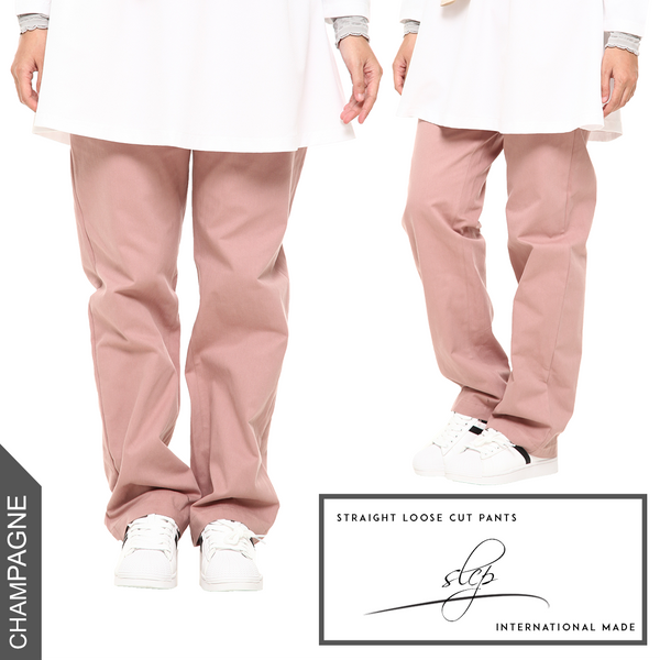 Straight Loose Cut Pants (Champagne)
