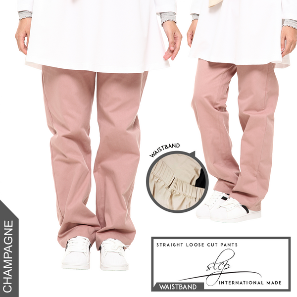 Straight Loose Cut Pants With Waistband (Champagne)