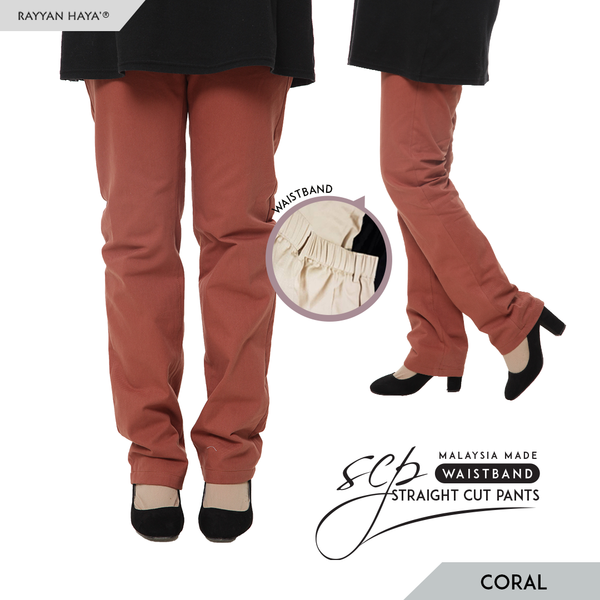 Straight Cut Pants Waistband Malaysia (Coral)