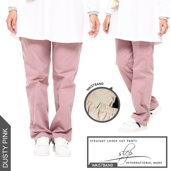 Straight Loose Cut Pants With Waistband (Dusty Pink)