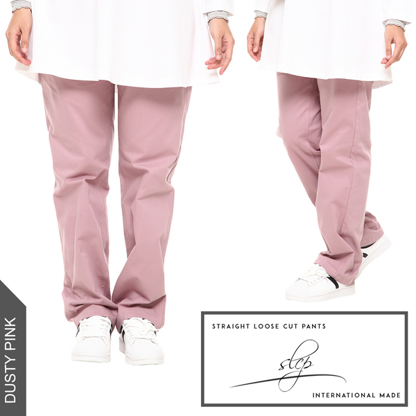 Straight Loose Cut Pants (Dusty Pink)