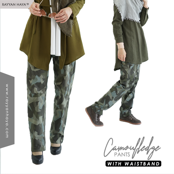 Camouflage Pants With Waistband (Green)